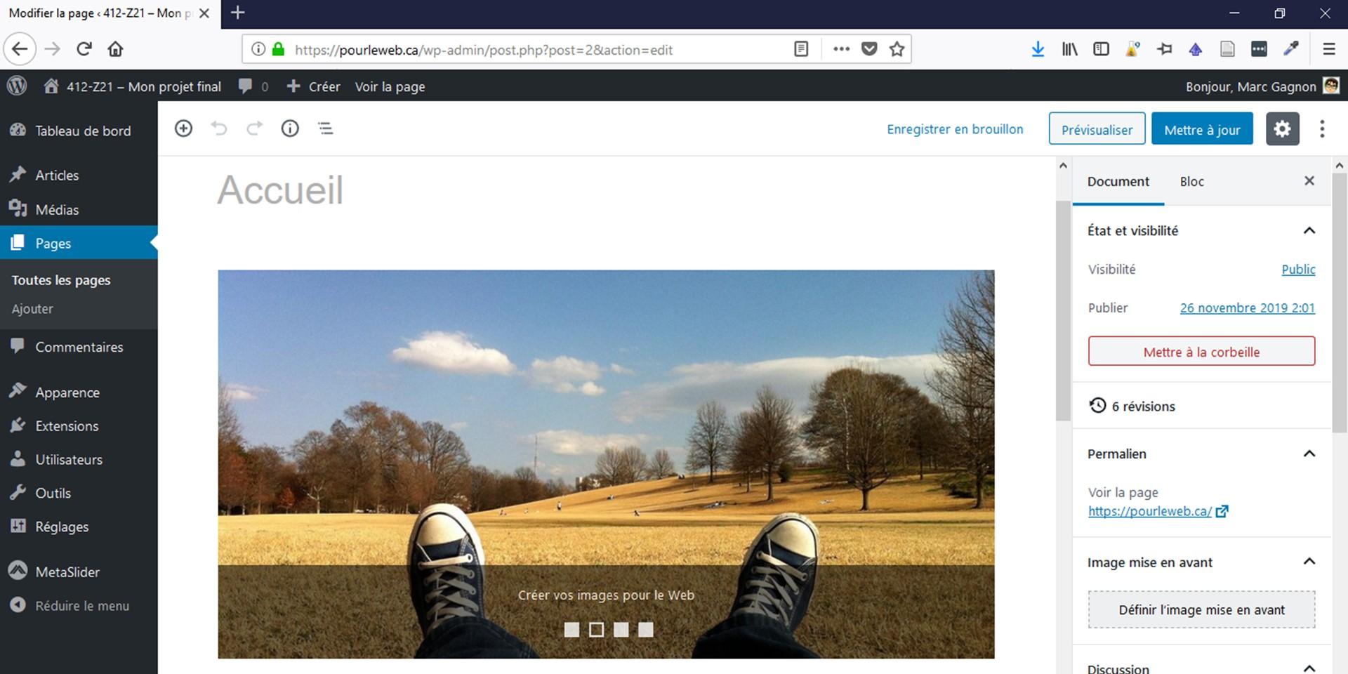 Créer la page d'accueil
