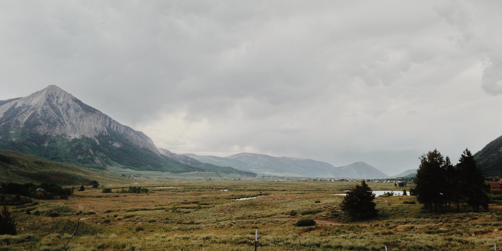 Un paysage bucolique avec des montagnes en arrière-plan